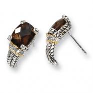 Sterling Silver/14ky Diamond and Smokey Quartz Post Earrings