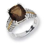 Sterling Silver/14ky Diamond and Smokey Quartz Ring