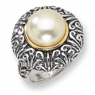 Sterling Silver/14ky 12mm White FW Cultured Pearl Ring