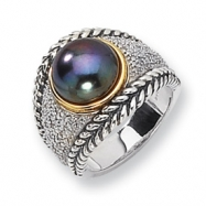 Sterling Silver/14ky Diamond and 11mm Black FW Cultured Pearl Ring