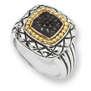 Sterling Silver/14ky Black Diamond Ring