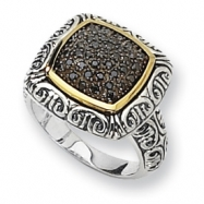 Sterling Silver w/14ky Black Diamond Ring