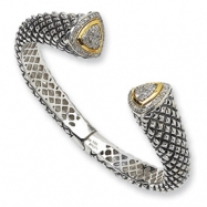 Sterling Silver/14ky Diamond Cuff Bracelet