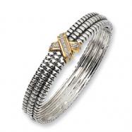 Sterling Silver/14ky Diamond Bangle Bracelet