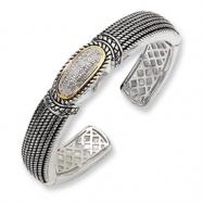 Sterling Silver/14ky Diamond Cuff Bangle Bracelet