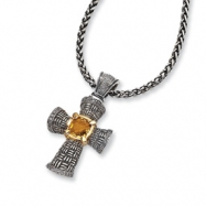 Sterling Silver/14ky Diamond and Citrine Cross 18in Necklace