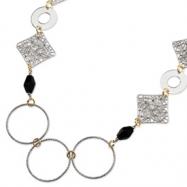 Sterling Silver and 18K Yellow Gold-Plated Onyx Fancy Necklace