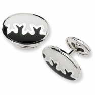 Sterling Silver Black and White Resin Fancy Cuff Links