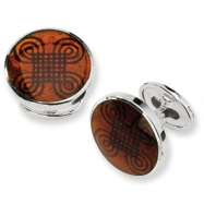 Sterling Silver Brown Resin Fancy Cuff Links