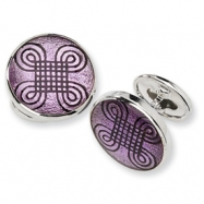 Sterling Silver Purple Resin Fancy Cuff Links
