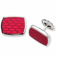 Sterling Silver Red Resin Fancy Cuff Links
