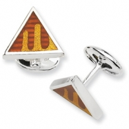 Sterling Silver Brown & Gold Resin Fancy Cuff Links