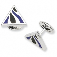 Sterling Silver Black Resin Fancy Cuff Links