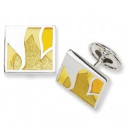 Sterling Silver Yellow Resin Fancy Cuff Links