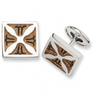 Sterling Silver Light Brown Resin Fancy Cuff Links