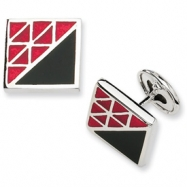 Sterling Silver Red and Black Resin Fancy Cuff Links