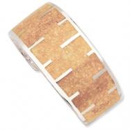 Sterling Silver Tan Resin & Sand Cuff Bracelet