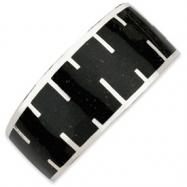Sterling Silver Black Resin & Sand Cuff Bracelet