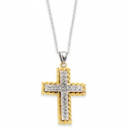 Sterling Silver & 14K Diamond-cut Cross Necklace chain