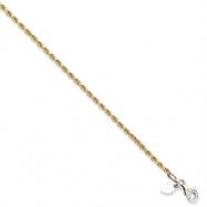 Sterling Silver & 14K 2mm Diamond-cut Rope Bracelet