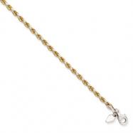 Sterling Silver & 14K 2.6mm Diamond-cut Rope Bracelet