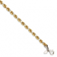 Sterling Silver & 14K 4.3mm Diamond-cut Rope Bracelet