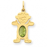 14K Girl 6x4 Oval  Genuine Peridot-Aug