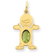 14K Boy 6x4 Oval  Genuine Peridot-Aug