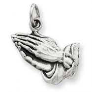 Sterling Silver Antiqued Praying Hands Charm