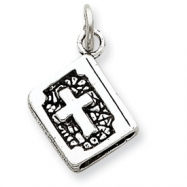 Sterling Silver Antiqued 3-D Bible Charm