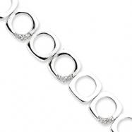Sterling Silver Square CZ Bracelet