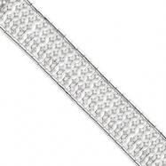 Sterling Silver Wide CZ Bracelet
