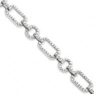 Sterling Silver CZ Link Bracelet