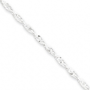 Sterling Silver 2mm Singapore Chain Anklet