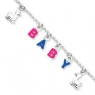 Sterling Silver Adjustable Enameled Baby Charm Bracelet