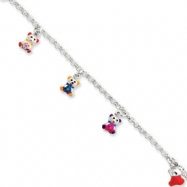 Sterling Silver Enamleled Baby Charm Bracelet