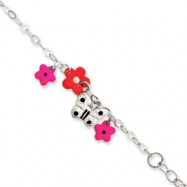 Sterling Silver Adjustable Enameled Baby ID Charm Bracelet