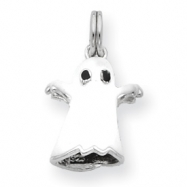 Sterling Silver White Enamel Ghost Charm
