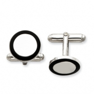 Sterling Silver and Black Enamel Round Cuff Links