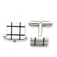 Sterling Silver and Black Enamel Grooved Design Square Cuff Links