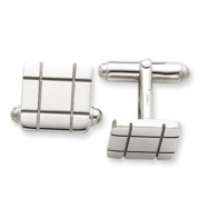 Sterling Silver Grooved Design Cuff Links