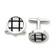 Sterling Silver with Mother of Pearl and Black Enamel Cuff Links