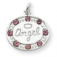 Sterling Silver w/ Swarovski Crystal Angel Pendant