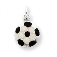 Sterling Silver Enameled Soccer Ball Charm