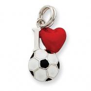 Sterling Silver Enamel I Heart Soccer Ball Charm