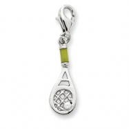 Sterling Silver Simulated Pearl Tennis Raquet Charm