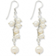 Sterling Silver White Cultured Pearl/Rock Quartz/Aurora Borealis Earrings