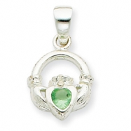 Sterling Silver Clear & Green CZ Claddagh Pendant