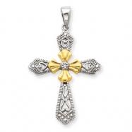 Sterling Silver Vermeil CZ Cross Pendant