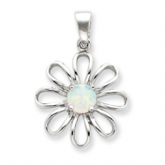 Sterling Silver Created Opal & CZ Daisy Slide